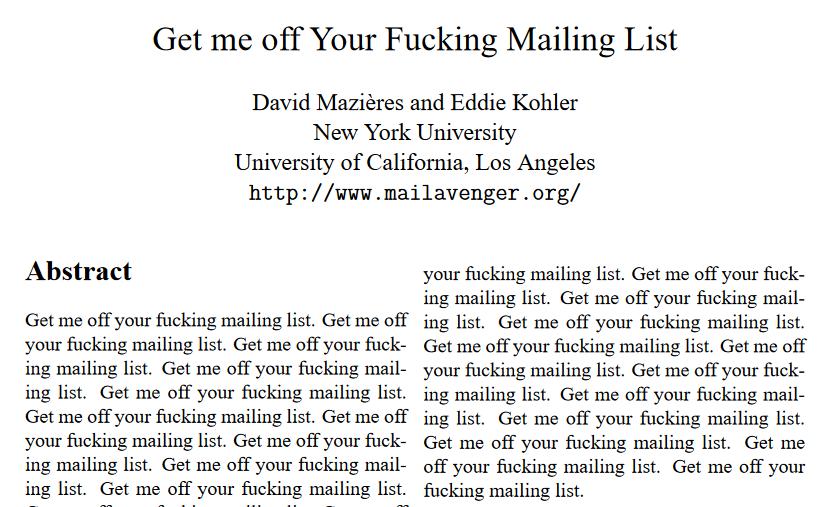 Sortez-moi de votre foutue mailing list